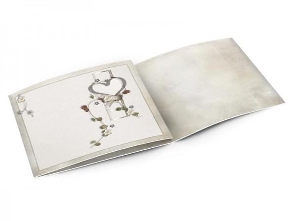 Faire-part mariage - Coeur blanc, fleurs blanches