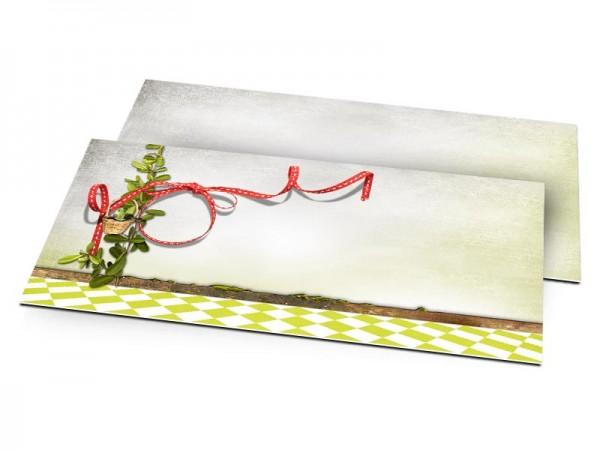 Faire-part mariage - Ruban rouge et damier vert