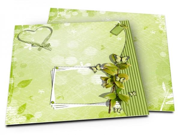 Faire-part mariage - Coeur vert et cadre blanc