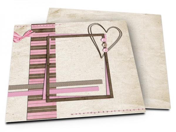 Faire-part mariage - Coeur fin sur cadre bicolore