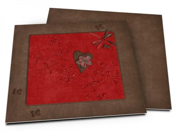Faire-part mariage - La fleur dans le coeur