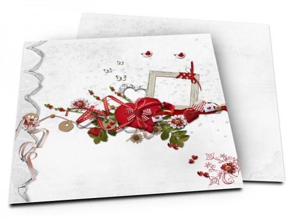 Faire-part mariage - Oiseau, rubans et coeurs en folie