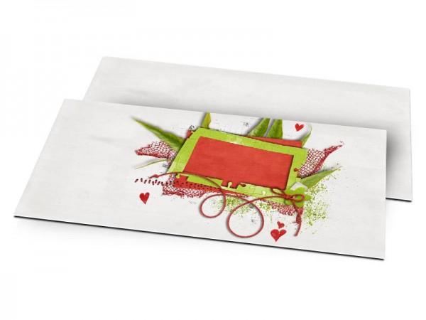Faire-part mariage - Coeurs rouges et feuilles vertes