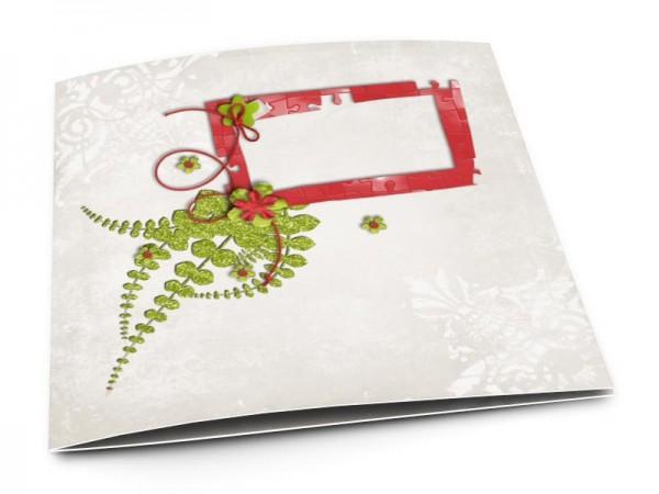 Faire-part mariage - Puzzle rouge et vert