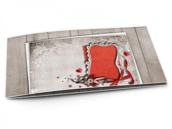 Faire-part mariage - Ruban gris, ruban rouge