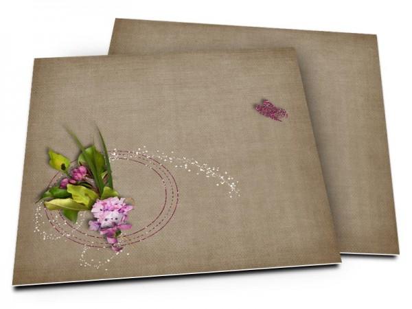 Faire-part mariage - Papillon de strass violet