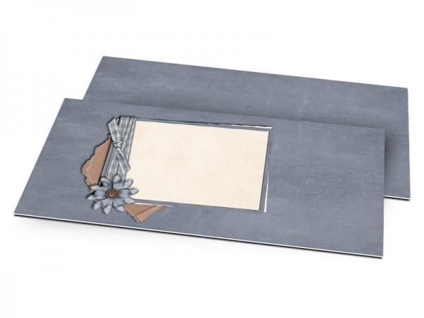 Faire-part mariage - Cadre bleu, fleur et ruban