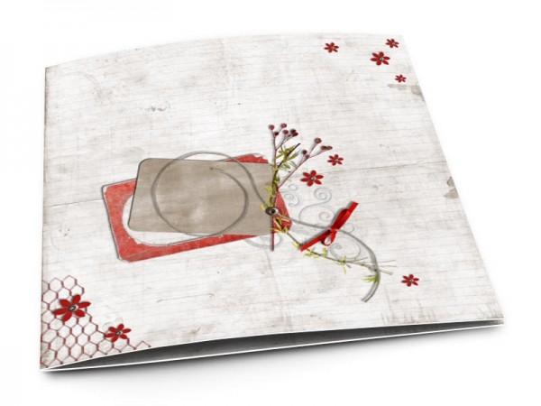 Faire-part mariage - Fleurs rouges étoilées