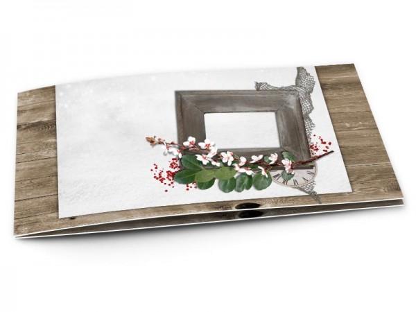 Faire-part mariage - Cadre en bois et branche fleurie