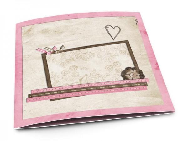 Faire-part mariage - Coeur rose et ivoire