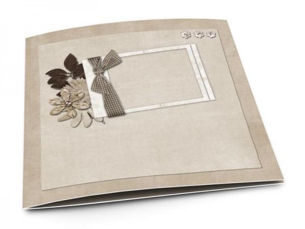 Faire-part mariage - Ruban et trio floral