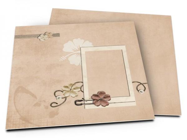 Faire-part mariage - Fleur blanche en filigrane