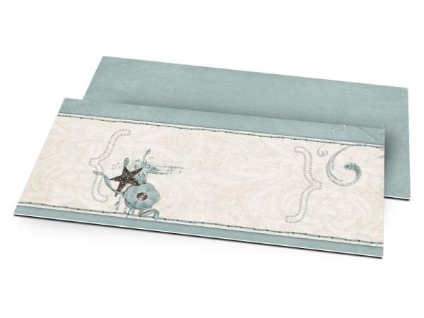 Faire-part mariage - Frise beige cousue sur fond turquoise