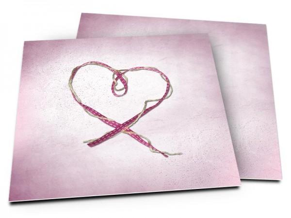 Faire-part mariage - Fil + ruban = coeur