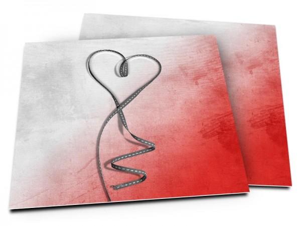 Faire-part mariage - Coeur gris posé sur dégradé de rouge