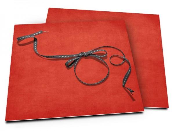 Faire-part mariage - Noeud gris sur fond rouge