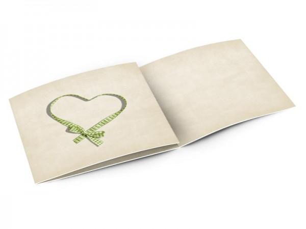 Faire-part mariage - Coeur vichy vert