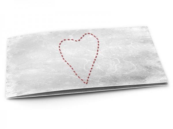 Faire-part mariage - Coeur rouge en pointillés