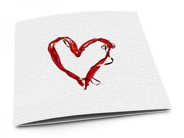 Faire-part mariage - Coeur rouge et ruban cuivré