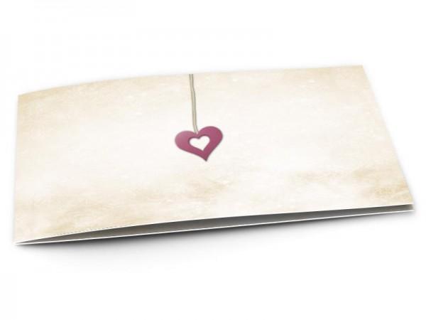Faire-part mariage - Coeur en pendentif rose