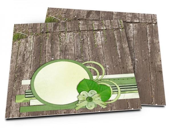 Faire-part mariage - Bois marron et décorations vertes