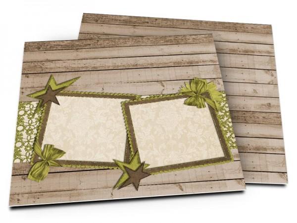 Faire-part mariage - Étoiles bicolores sur fond en bois