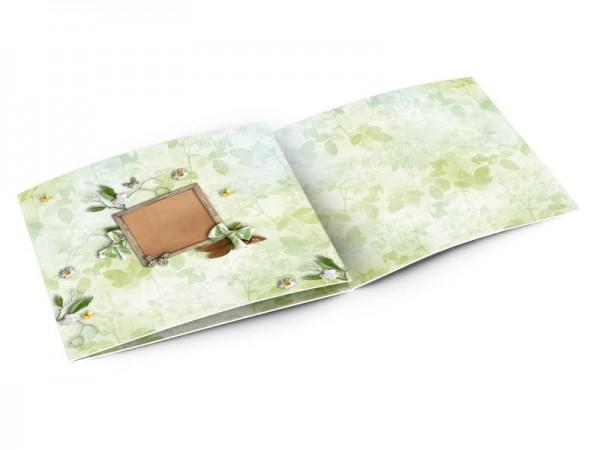 Faire-part mariage - Champêtre – marguerites et rubans verts