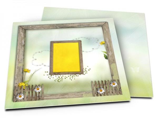 Faire-part mariage - Champêtre – marguerites et fleurs jaunes