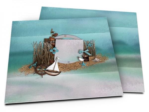 Faire-part mariage - La mer – petit voilier sur fond turquoise
