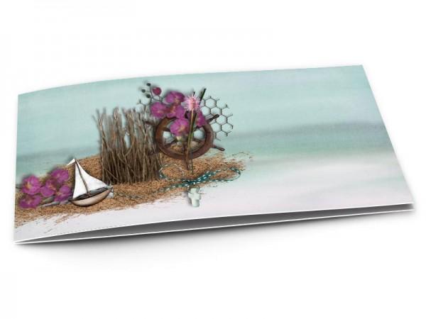 Faire-part mariage - La mer – petit bateau et fleurs violettes