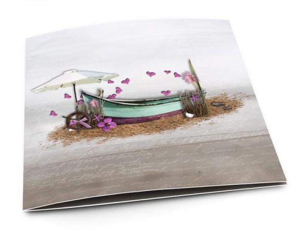 Faire-part mariage - Les îles – barque et coeurs violets