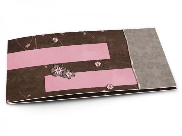 Faire-part mariage - Rose et chocolat – deux bandes roses sur fond chocolat