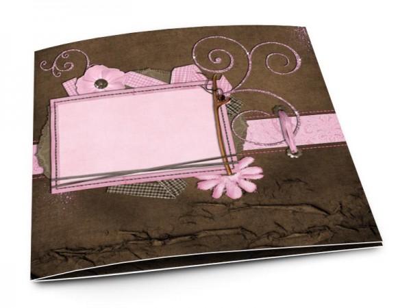 Faire-part mariage - Rose et chocolat – ornements roses