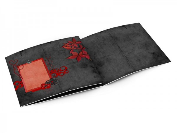 Faire-part mariage - Rouge et noir – feuilles rouges sur fond noir