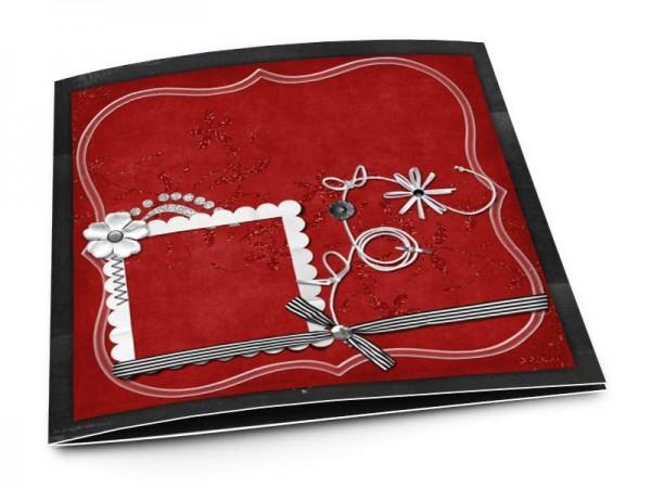 Faire-part mariage - Rouge et noir – fleurs blanches et ruban