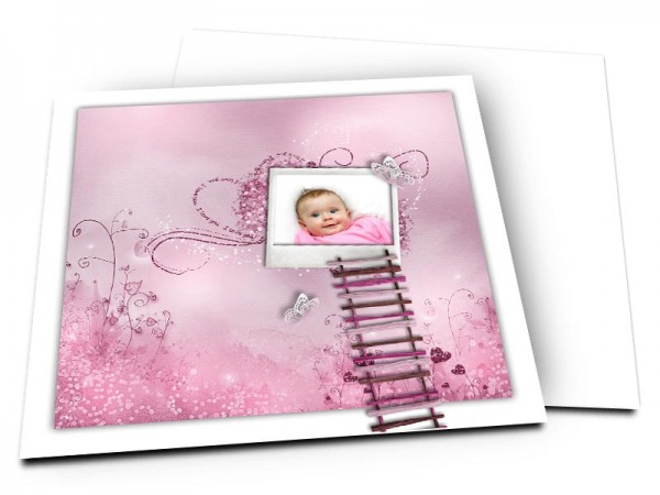 Faire-part naissance - Nature rose