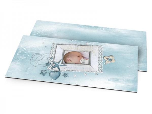 Faire-part naissance - Dentelle et étoile bleue
