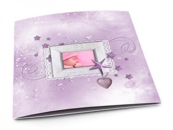 Faire-part naissance - Dentelle et étoile rose