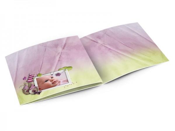 Faire-part naissance - Maison de lutin bicolore violet et vert