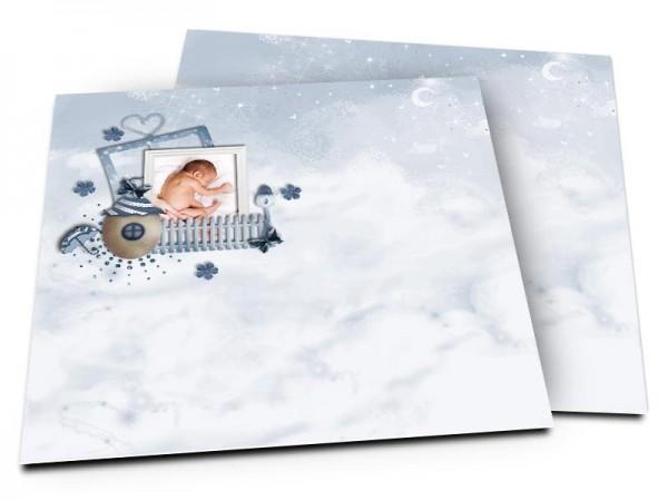 Faire-part naissance - La petite maison dans les nuages – modèle garçon