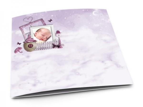 Faire-part naissance - La petite maison dans les nuages – modèle fille