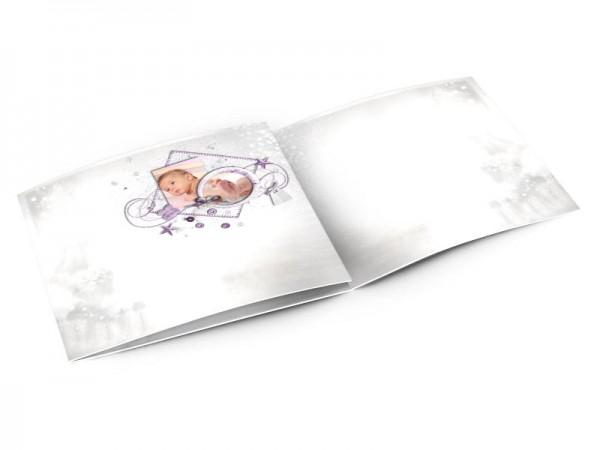 Faire-part naissance - Violet – fleurs et papillons