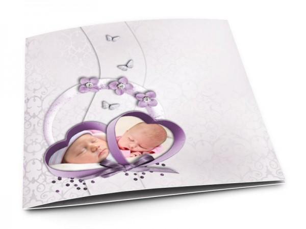 Faire-part naissance - Deux coeurs photos et papillons