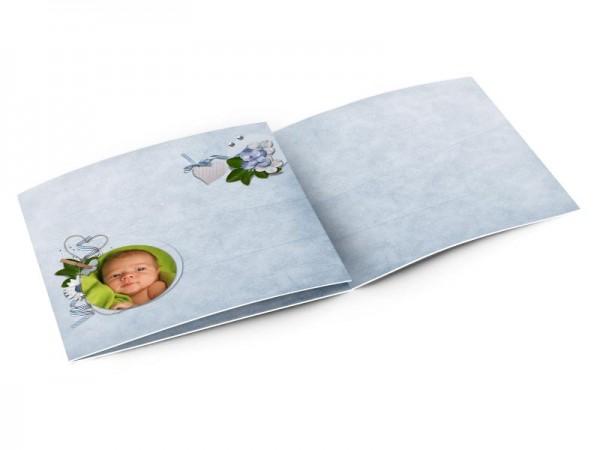Faire-part naissance - Tapisserie bleu