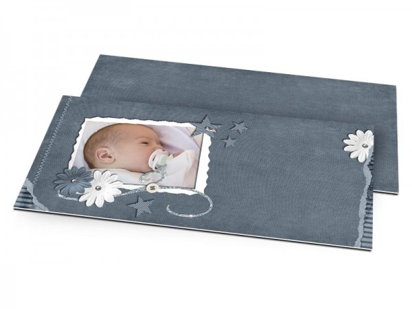 Faire-part naissance - Gris bleu