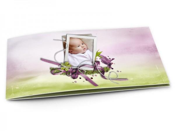 Faire-part naissance - Flou artistique vert et mauve