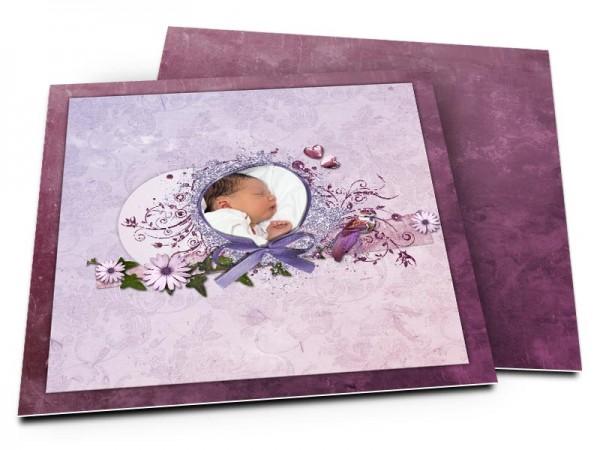 Faire-part naissance - Photo entourée d'un ruban violet