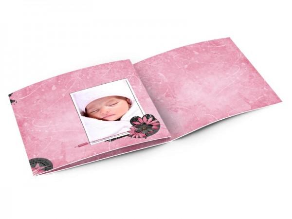 Faire-part naissance - Coeurs noirs sur fond rose