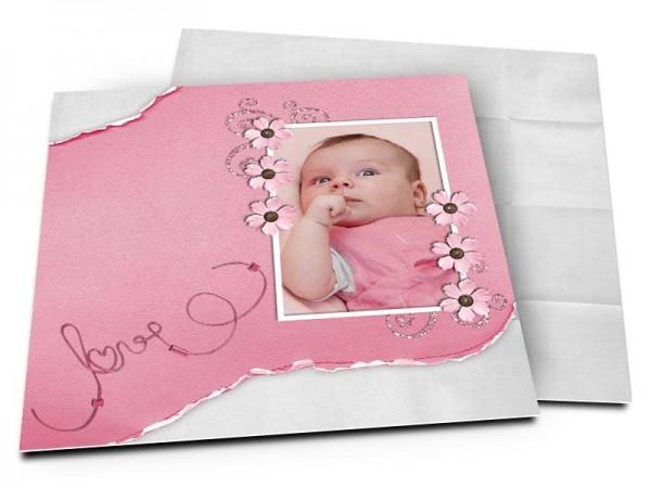 Faire-part naissance - Love rose et gris
