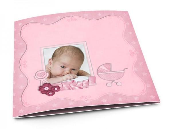 Faire-part naissance - Landau rose